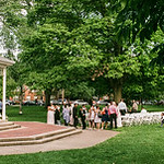 A wedding just concluding in Goodale Park.